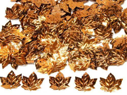 cekiny liście jasne brązowe
