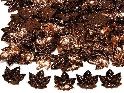 cekiny liście brązowe