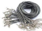 sznurek bawełniany wosk. szary z zapięciem