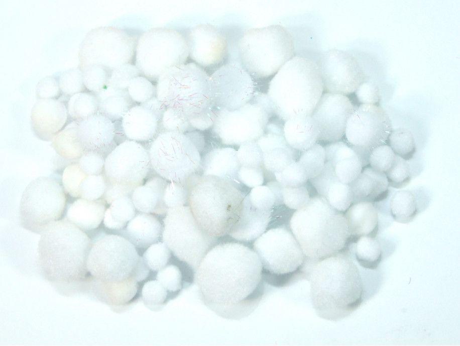 pomponiki mix biały 100 sztuk