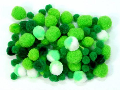 pomponiki mix zielony 100 sztuk