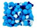 pomponiki mix niebieski 100 sztuk