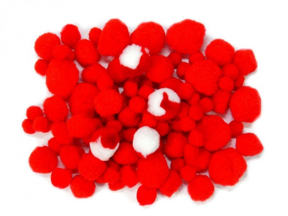 pomponiki mix czerwony 100 sztuk