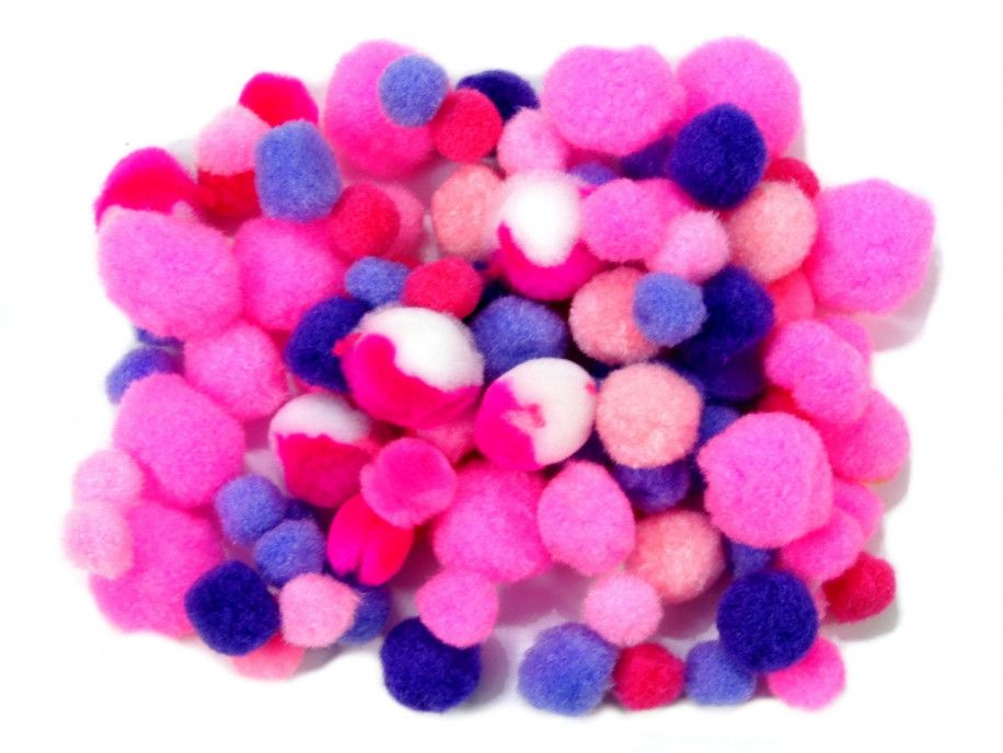 pomponiki mix różowo-fioletowy 100 sztuk