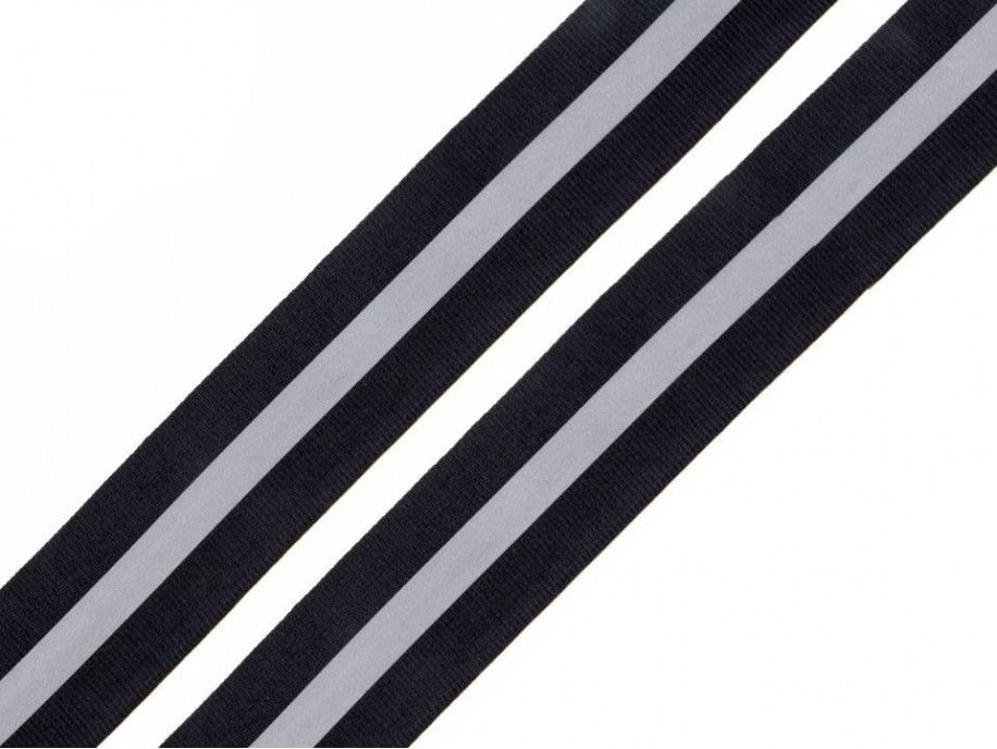 taśma rypsowa 30 mm z odblaskiem czarna