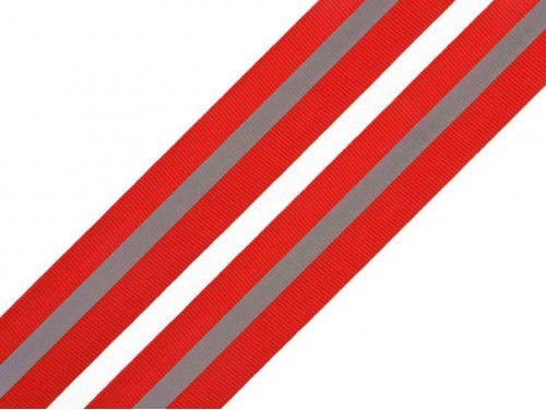 taśma rypsowa 30 mm z odblaskiem czerwona