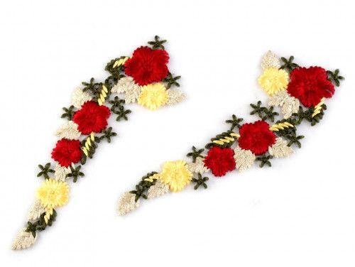 wstawka dekoltowa kolorowe kwiaty 2 szt.