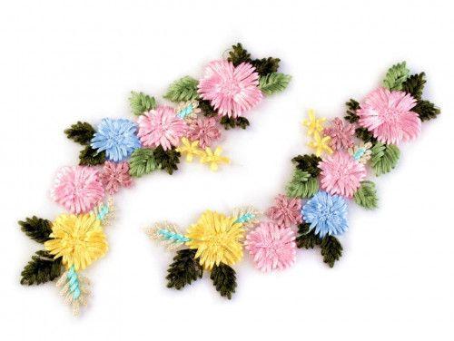 wstawka dekoltowa kolorowe kwiaty