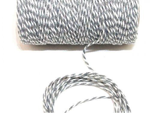 sznurek bawełniany 1,5 mm biało/szary -10m.