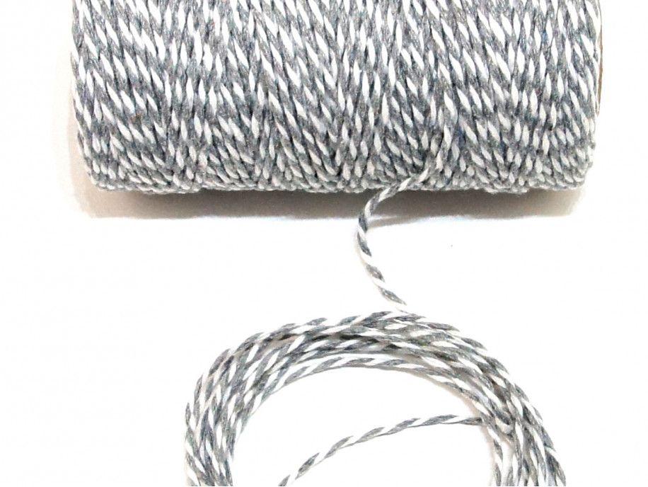 sznurek bawełniany 2 mm biało/szary -10m.