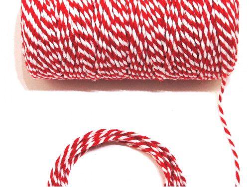 sznurek bawełniany 1,5 mm biało-czerwony -10m.