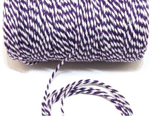 sznurek bawełniany 2 mm biało-fioletowy -10m.