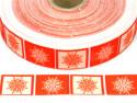 wstążka rypsowa śnieżynki kwadraty czerwone