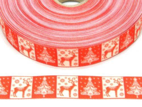 wstążka rypsowa jelonki kwadraty czerwone