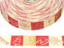 wstążka rypsowa świąteczne kwadraty bordowe