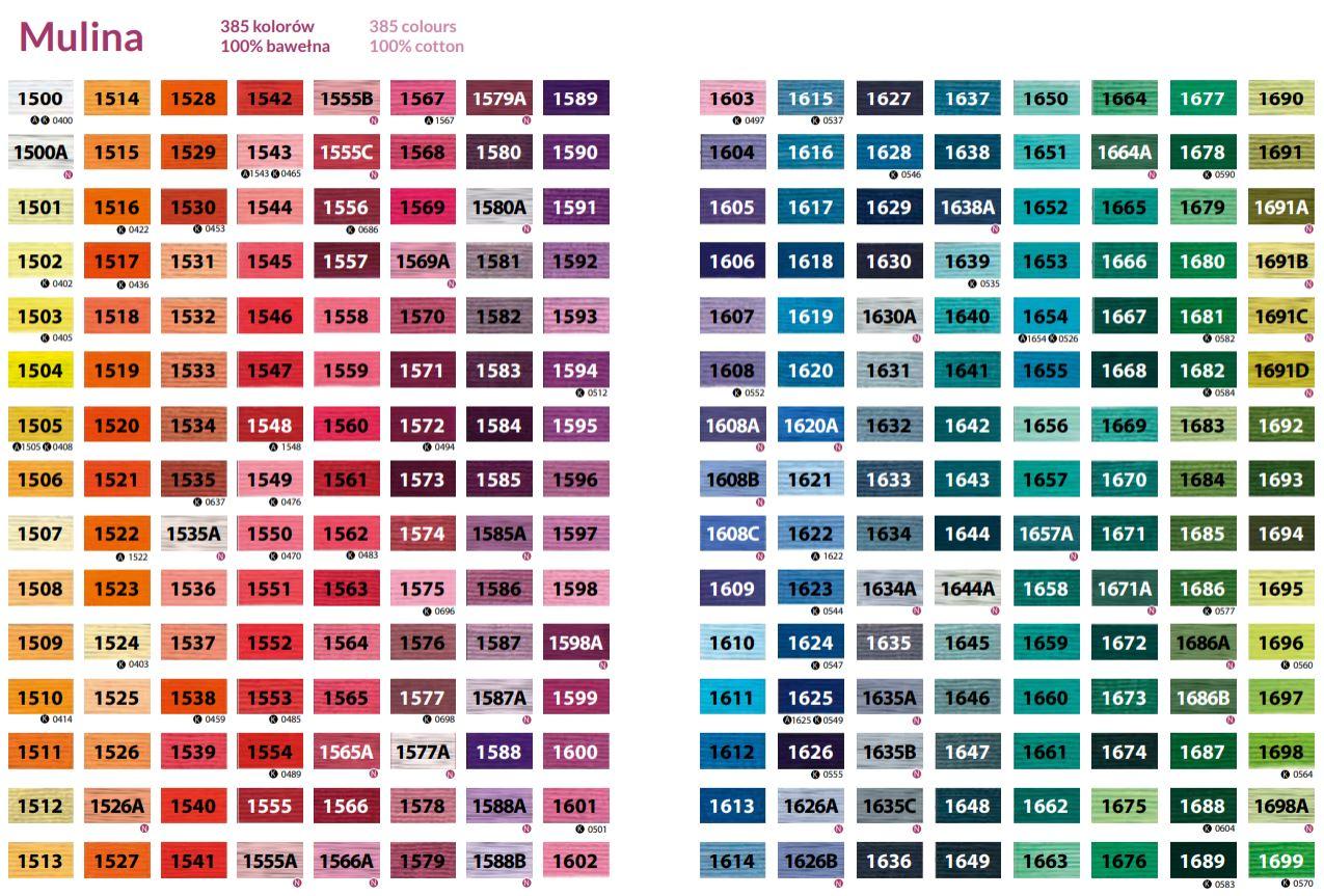 Mulina 8m Ariadna karta kolorów