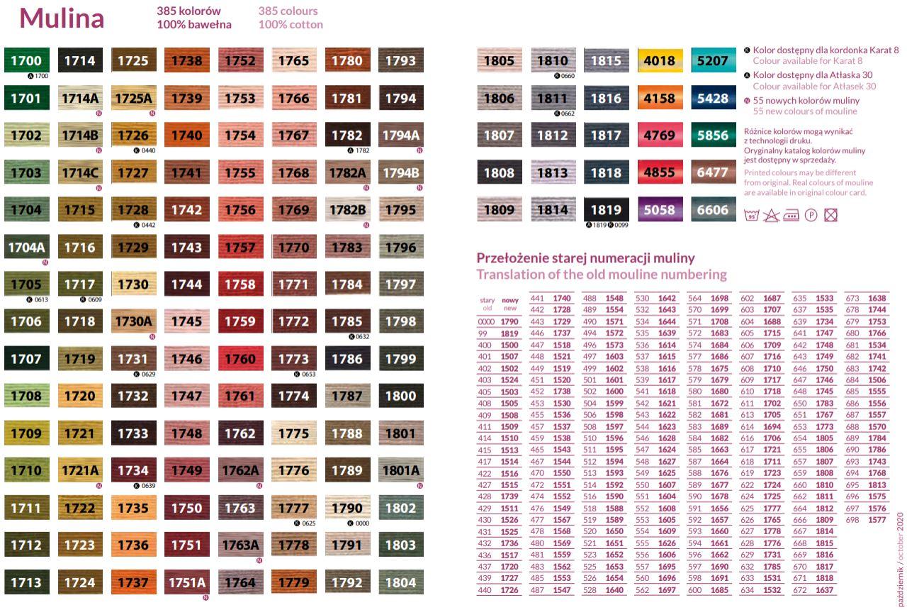 Mulina 8m Ariadna karta kolorów 2